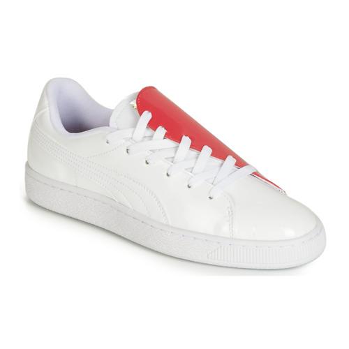 Schuhe Damen Sneaker Low Puma WN BASKET CRUSH.WH-HIBISCU Weiss