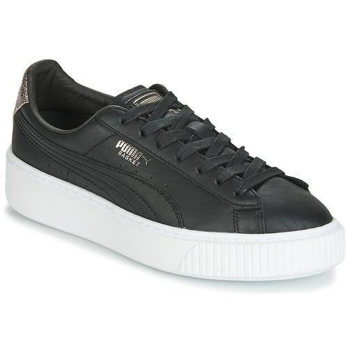 Schuhe Damen Sneaker Low Puma WN SUEDE PLATFM OPULENT.BL Schwarz