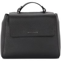 Taschen Damen Umhängetaschen Orciani Handtasche Sveva Small aus schwarzem genarbtem Leder Schwarz