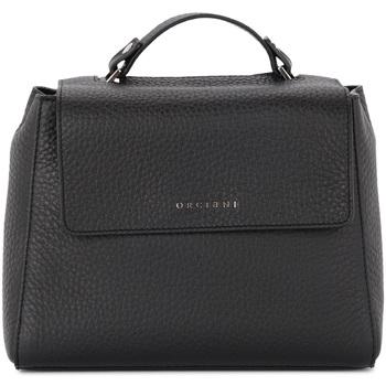 Orciani Umhängetasche Handtasche Sveva Small aus schwarzem genarbtem Leder