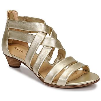 Schuhe Damen Sandalen / Sandaletten Clarks MENA SILK Champagne