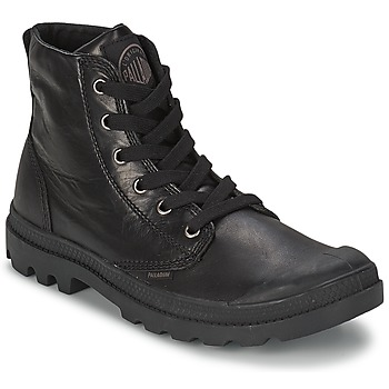 Schuhe Herren Boots Palladium PAMPA HI LEATHER Schwarz
