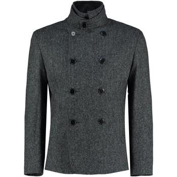 Kleidung Mäntel De La Creme - Herren Schwarz Tweed Kurz Winter Wolle Jacke Black
