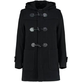 Kleidung Mäntel De La Creme - Mens Schwarz Winter mit Kapuze Duffle Wolle Kaschmirmantel Black
