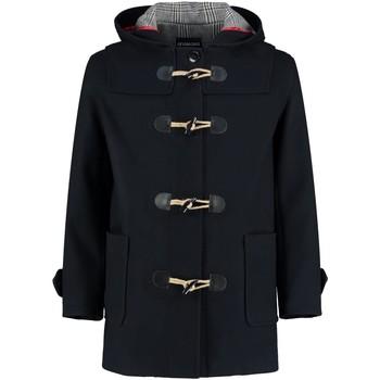 Kleidung Mäntel De La Creme Herren Winter Kapuzen Duffle Wollmantel Black