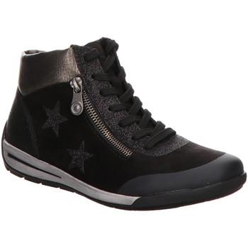 Schuhe Damen Sneaker High Rieker Stiefeletten Schnürstiefelette Warmfutter M3033-01 schwarz