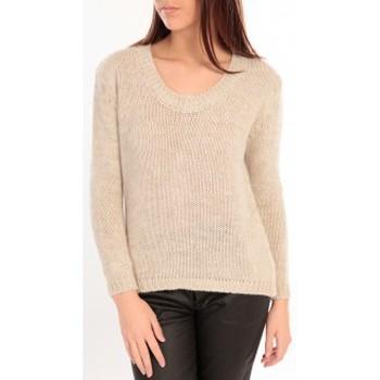 Kleidung Damen Pullover De Fil En Aiguille Pull Maille Tressée Écru Beige