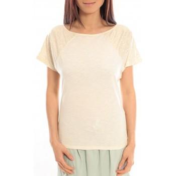 Kleidung Damen T-Shirts Blune T-Shirt Pointilleuse PO-TF02E13 Écru Beige