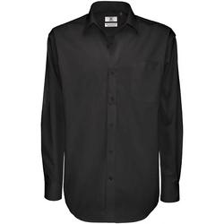 Kleidung Herren Langärmelige Hemden B And C SMT81 Schwarz