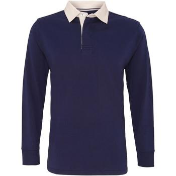 Kleidung Herren Langärmelige Polohemden Asquith & Fox AQ040 Marineblau
