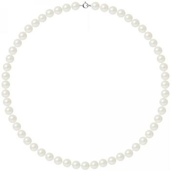 Uhren Damen Collier Blue Pearls Perle Halskette mit Weissen Zuchtperlen und 750/1000 Weißgold -V Weiss