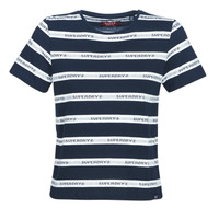Kleidung Damen T-Shirts Superdry COTE STRIPE TEXT TEE Marine