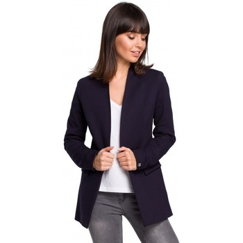 Kleidung Damen Jacken / Blazers Be B102 Offener Blazer aus einer Baumwollmischung - navyblau