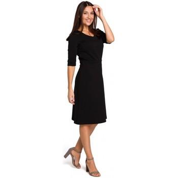 Kleidung Damen Tops / Blusen Style S153 Kleid mit V-Ausschnitt und Schlagseite - schwarz