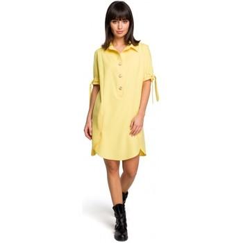 Kleidung Damen Kurze Kleider Be B112 Tunika mit Kragen und gebundenen Ärmeln - gelb