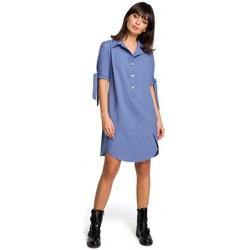 Kleidung Damen Kleider Be B112 Tunika mit Kragen und gebundenen Ärmeln - blau