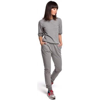 Kleidung Damen Jogginganzüge Be B104 Jumboanzug mit V-Ausschnitt - grau
