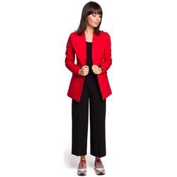Kleidung Damen Kleider Be B103 Offener Blazer aus Baumwollmischung Übergrößen - rot