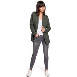 Kleidung Damen Tops / Blusen Be B102 Offener Blazer aus einer Baumwollmischung - Militärgrün