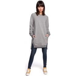 Kleidung Damen Kleider Be B101 Übergroße Tunika mit geteilten Seiten - grau
