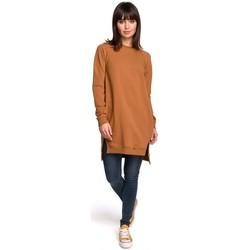 Kleidung Damen Kleider Be B101 Übergroße Tunika mit geteilten Seiten - Karamell