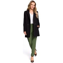 Kleidung Damen Röcke Moe M429 Langer doppelreihiger Blazer - schwarz