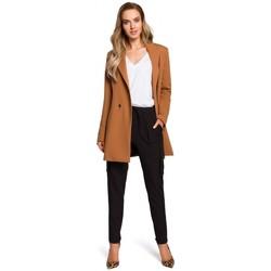 Kleidung Damen Röcke Moe M429 Langer Zweireiher-Blazer - Karamell