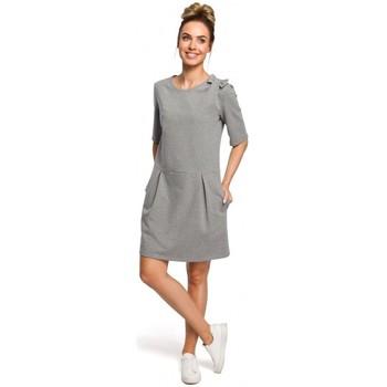 Kleidung Damen Kleider Moe M422 Kleid mit fallender Taille und Schleife - grau