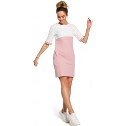 Kleidung Damen Kleider Moe M418 Colorblock Etuikleid - Puder + Ecru