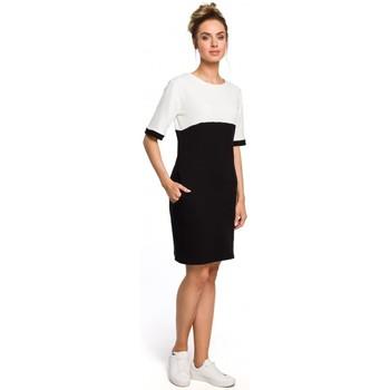 Kleidung Damen Kleider Moe M418 Colorblock Etuikleid - schwarz + ecru