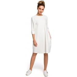 Kleidung Damen Kleider Moe M417 Etuikleid mit tiefem Rückenausschnitt - ecru
