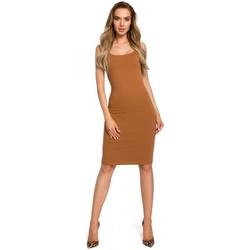 Kleidung Damen Kleider Moe M414 Dicker Träger Bodycon Kleid - Karamell