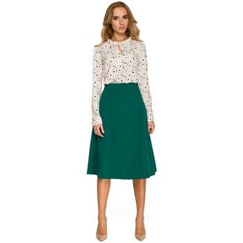 Kleidung Damen Sweatshirts Style S134 Bluse mit Rüschenbesatz und Krawattenkragen - ecru