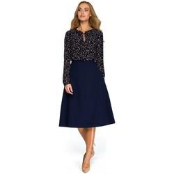 Kleidung Damen Tops / Blusen Style S133 Midirock in A-Linie - navyblau
