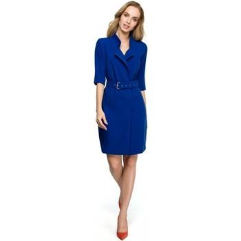 Kleidung Damen Kleider Style S120 Kragen Etuikleid mit Gürtel - königsblau