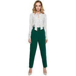 Kleidung Damen Kleider Style S124 Hose mit Gürtel und hoher Taille - grün