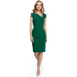Kleidung Damen Kurze Kleider Style S121 Bleistiftkleid mit asymmetrischem Ausschnitt - grün