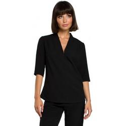 Kleidung Damen Tops / Blusen Be B090 Einfarbiges Top mit V-Ausschnitt und Leinen - schwarz