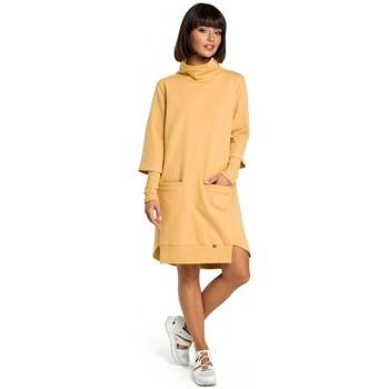 Kleidung Damen Kleider Be B089 Asymmetrisches Rollkragenkleid - gelb
