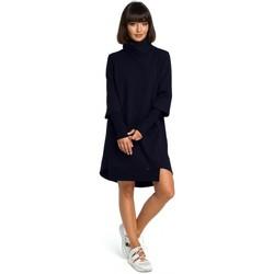 Kleidung Damen Kleider Be B089 Asymmetrisches Kleid mit Rollkragen - navyblau