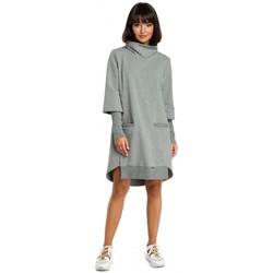 Kleidung Damen Kleider Be B089 Asymmetrisches Rollkragenkleid - grau