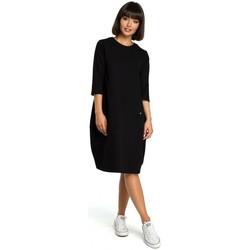 Kleidung Damen Kurze Kleider Be B083 Übergroßes Kleid mit Fronttasche - schwarz
