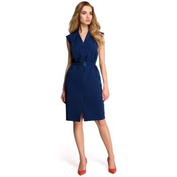 Kleidung Damen Kleider Style S102 Ärmelloses Hemdkleid - navyblau