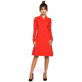 Kleidung Damen Kleider Be B044 Trapezkleid mit Rippenbündchen - rot
