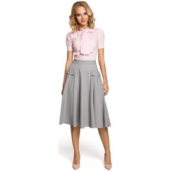 Kleidung Damen Hemden Moe M321 Ausgestellter Midirock mit Taschen - grau