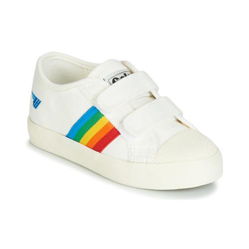 Schuhe Kinder Sneaker Low Gola COASTER RAINBOW VELCRO Weiss