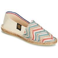 Schuhe Damen Leinen-Pantoletten mit gefloch Art of Soule BOHEME BICOLOR Beige / Blau / Korallenrot