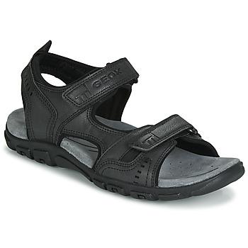 Schuhe Herren Sportliche Sandalen Geox UOMO SANDAL STRADA Schwarz