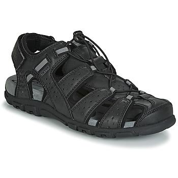 Schuhe Herren Sandalen / Sandaletten Geox UOMO SANDAL STRADA Schwarz