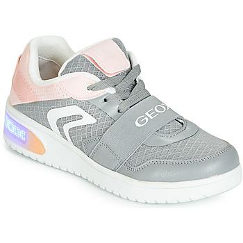 Schuhe Mädchen Sneaker High Geox J XLED GIRL Grau / Rose /  led